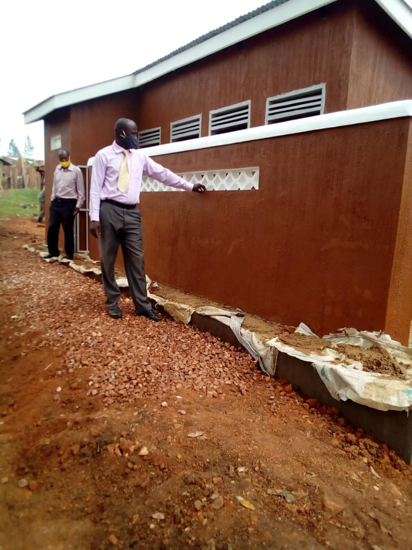 A 5 stance line pit latrine that was constructed by the District at the Kanyarugiri Market has been completed. Photo by Sylas Byaruhanga
